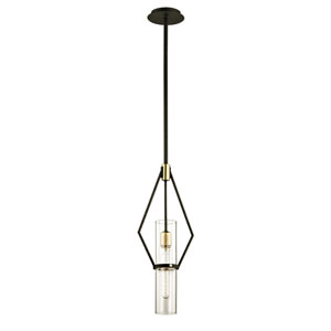 Barlow Textured Bronze and Brushed Brass 10-Inch One-Light Mini Pendant
