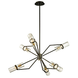 Barlow Textured Bronze and Brushed Brass 36-Inch Six-Light Chandelier