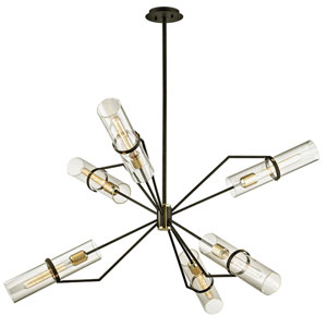 Barlow Textured Bronze and Brushed Brass 50-Inch Six-Light Chandelier