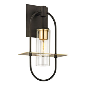 Castile Dark Bronze and Brushed Brass 18-Inch One-Light Outdoor Wall Sconce