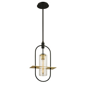 Castile Dark Bronze and Brushed Brass One-Light Outdoor Pendant