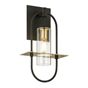 Castile Dark Bronze and Brushed Brass 14-Inch One-Light Outdoor Wall Sconce