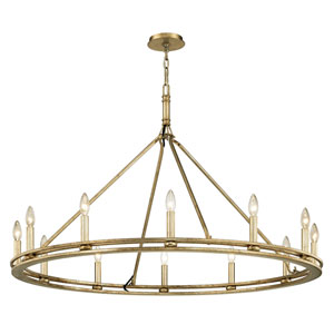 Amberley Champagne Silver Leaf 12-Light Chandelier
