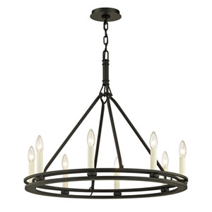 Amberley Textured Black Eight-Light Chandelier