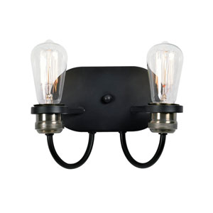 Fulton Black and Plated Antique Brass Two-Light  Wall Sconce