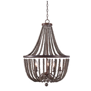 Grace Golden Bronze Five-Light Chandelier with Gray Wood Beads
