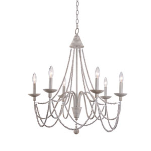 Grace Weathered White Six-Light Chandelier