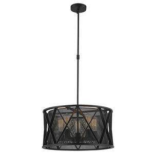 Fulton Matte Black Five-Light Pendant