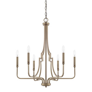 Whitter Aged Brass Six-Light Chandelier
