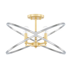 Cooper Gold and Silver Four-Light Semi Flush Mount