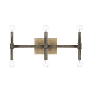 Uptown Iron and Gold Six-Light Bath Vanity