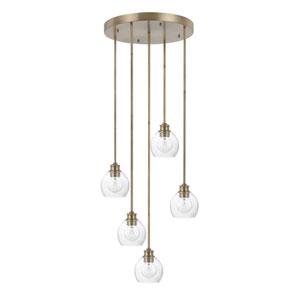 Nicollet Aged Brass Five-Light Pendant