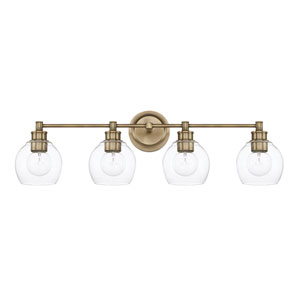 Nicollet Aged Brass Four-Light Bath Vanity