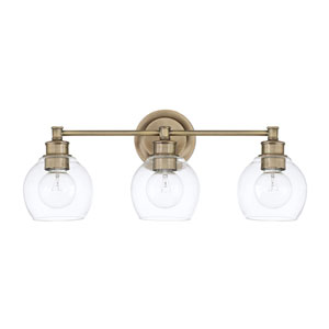 Nicollet Aged Brass Three-Light Bath Vanity
