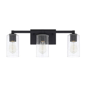 Aster Black Iron Three-Light Bath Vanity