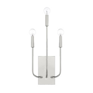Loring Polished Nickel Three-Light Wall Sconce
