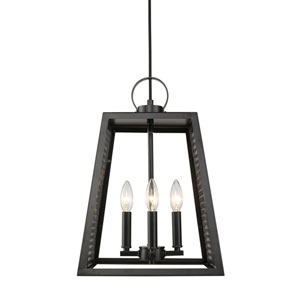 River Station Black 12-Inch Four-Light Pendant with Black Mesh Panels