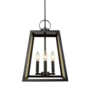 River Station Black 12-Inch Four-Light Pendant with Satin Brass Mesh Panels