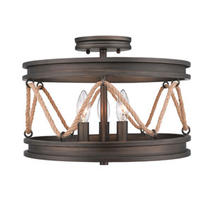 Afton Bronze Three-Light Semi Flush Mount