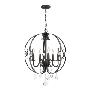 Wellington Black Five-Light Chandelier