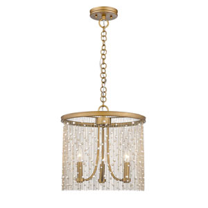 Vivian Gold 15-Inch Three-Light Pendant with Pearl Strands