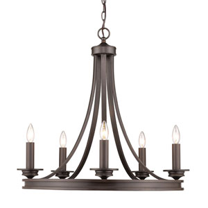 Evelyn Rubbed Bronze 28-Inch Five-Light Chandelier