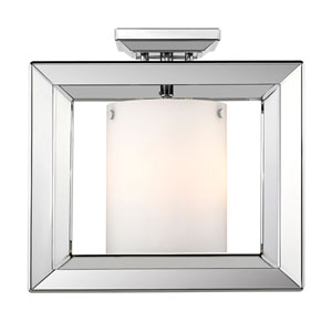 Linden Chrome 12-Inch Three-Light Semi-Flush Mount with Opal Glass
