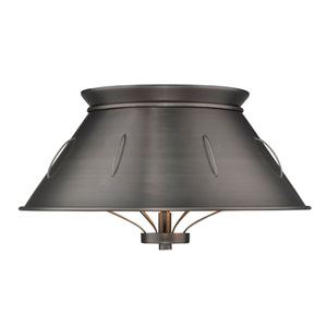 River Station Aged Steel 14-Inch Two-Light Flush Mount with Aged Steel