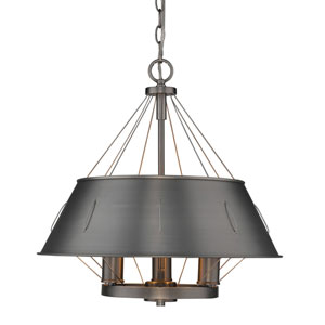 River Station Aged Steel 18-Inch Three-Light Drum Pendant with Aged Steel