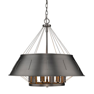 River Station Aged Steel 25-Inch Six-Light Drum Pendant with Aged Steel