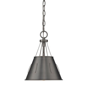 River Station Aged Steel Nine-Inch One-Light Mini Pendant with Aged Steel