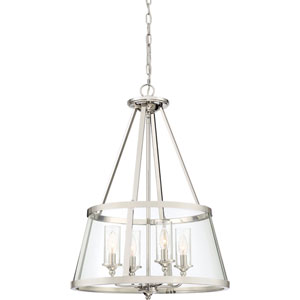 Isles Polished Nickel Four-Light Convertible Pendant