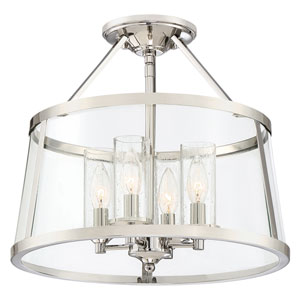 Isles Polished Nickel Four-Light Semi Flush Mount