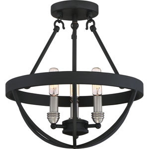 Afton Black 14-Inch Three-Light Semi Flush Mount