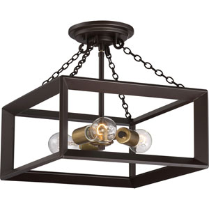 Aster Bronze 14-Inch Three-Light Semi Flush Mount