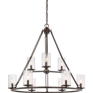 Aster Bronze Nine-Light Chandelier
