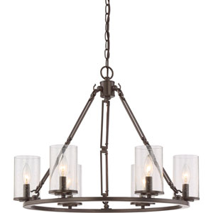 Aster Bronze Six-Light Chandelier