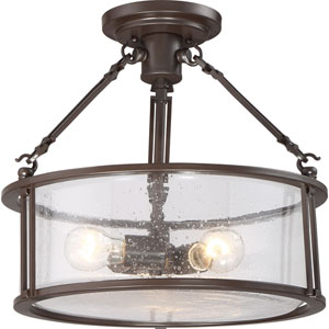 Aster Bronze Three-Light Semi Flush Mount