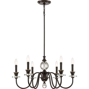 Evelyn Bronze 28-Inch Six-Light Chandelier