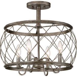 Hayden Silver Leaf Four-Light Semi Flush Mount