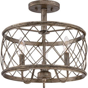 Hayden Silver Leaf and Gold Three-Light Semi Flush Mount