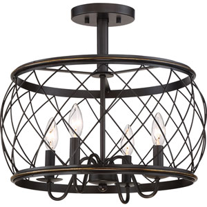 Hayden Bronze Four-Light Semi Flush Mount
