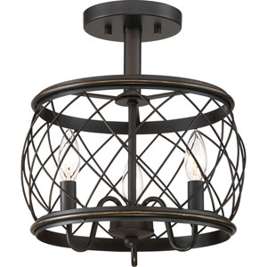 Hayden Bronze Three-Light Semi Flush Mount