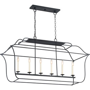 Whitter Black Six-Light Island Pendant