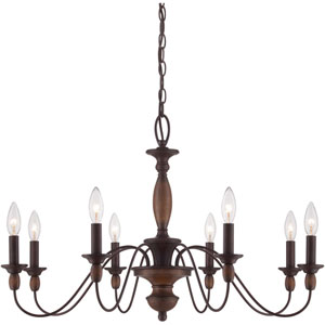 Evelyn Rust with Wood Eight-Light Chandelier