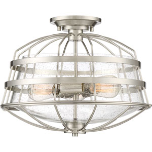River Station Brushed Nickel Three-Light Semi Flush Mount
