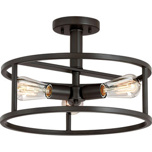 Nicollet Bronze Three-Light Semi Flush Mount