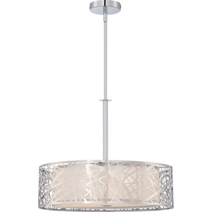 Loring Polished Chrome Three-Light Drum Pendant
