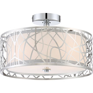 Loring Polished Chrome Three-Light Semi Flush Mount
