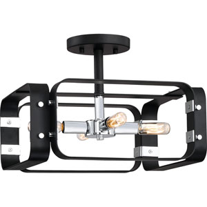 Uptown Black Four-Light Semi Flush Mount